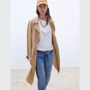 Zara Flowy Trench Coat With Pockets Camel xs
